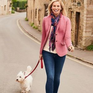 Talbots Pink Tweed Jacket Blazer size 16